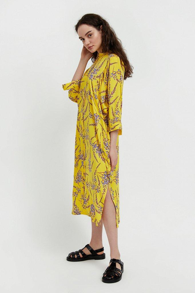 Платье-рубашка с растительным принтом, Модель S21-11066, Фото №3