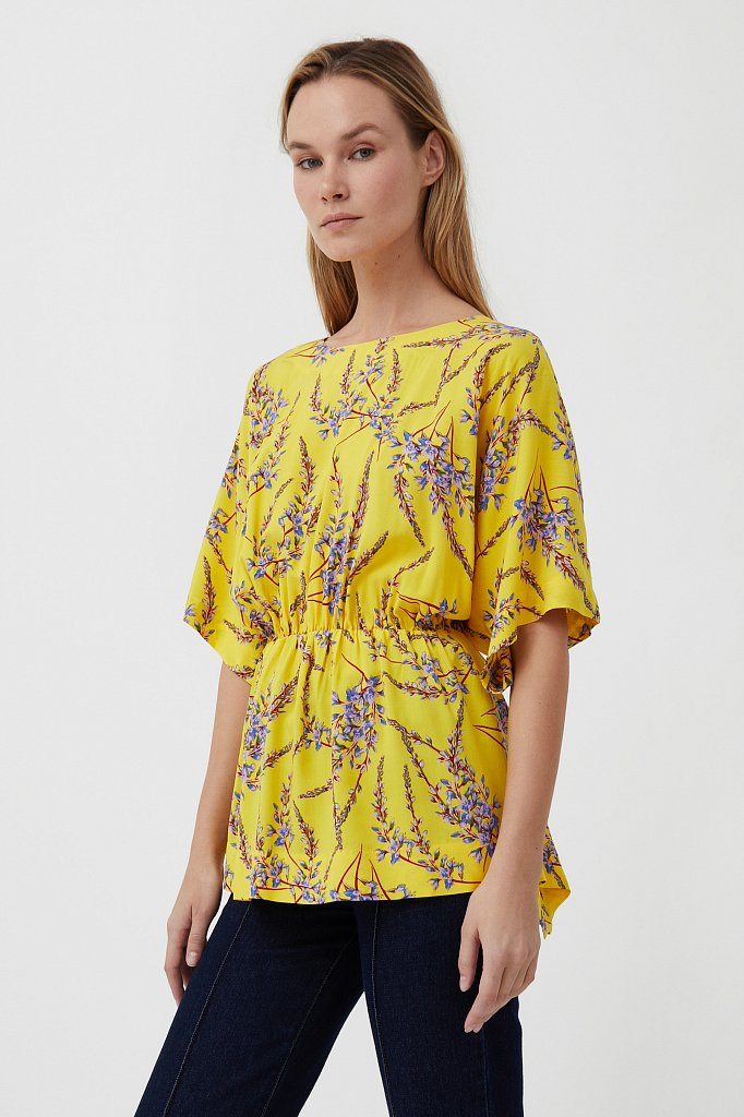 Блуза с цветочным принтом, Модель S21-11067, Фото №3
