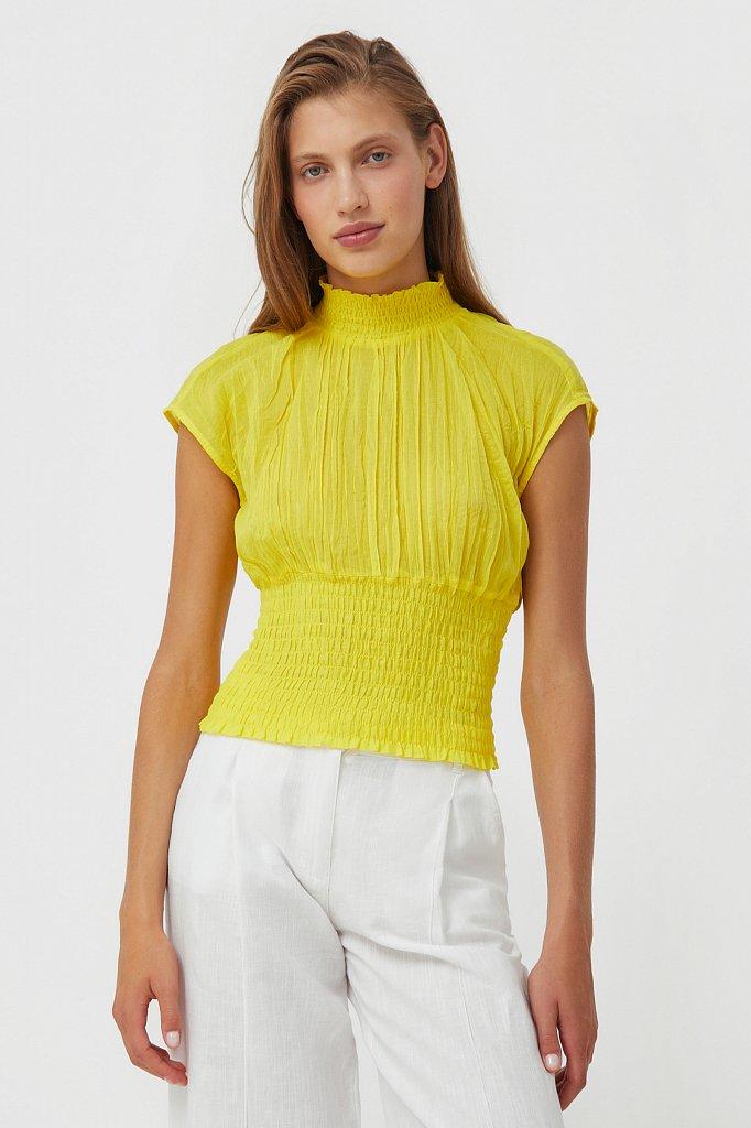 Блуза из жатого хлопка, Модель S21-11099, Фото №1