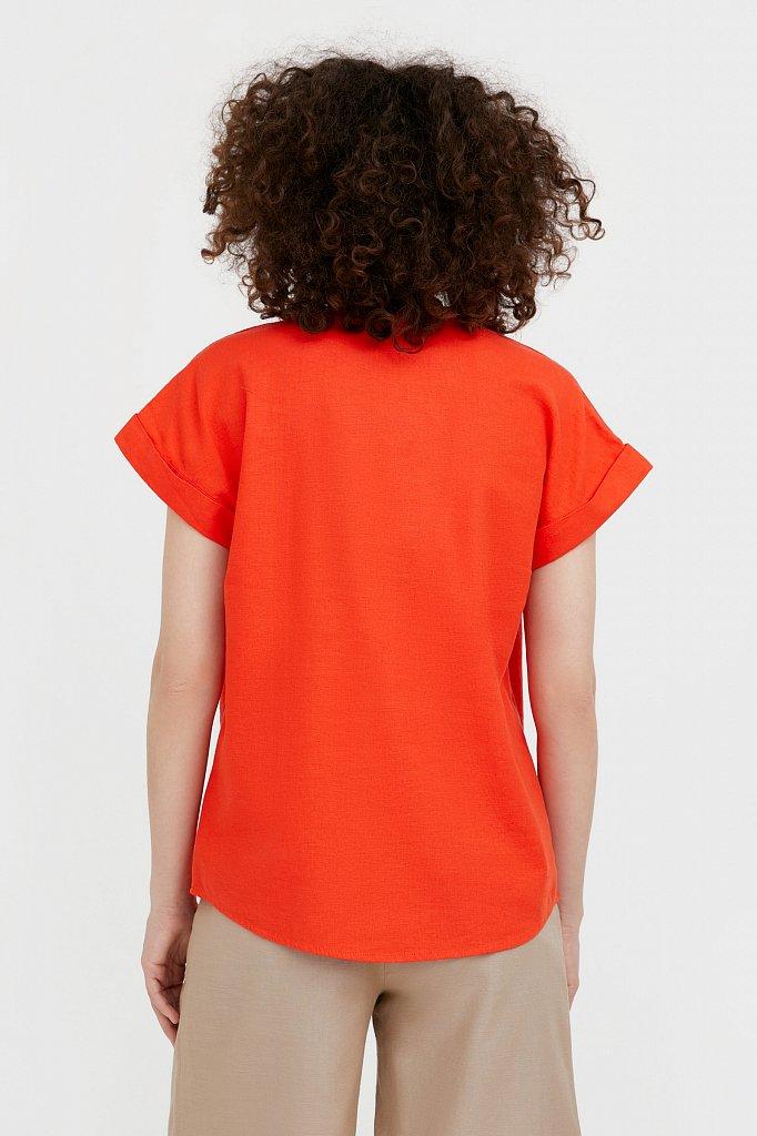 Однотонная льняная футболка, Модель S21-12017, Фото №4