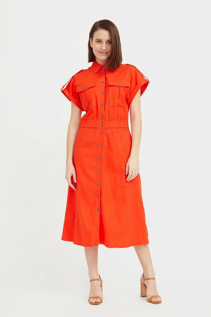 Платье-рубашка с короткими рукавами, Модель S21-12028, Фото №2