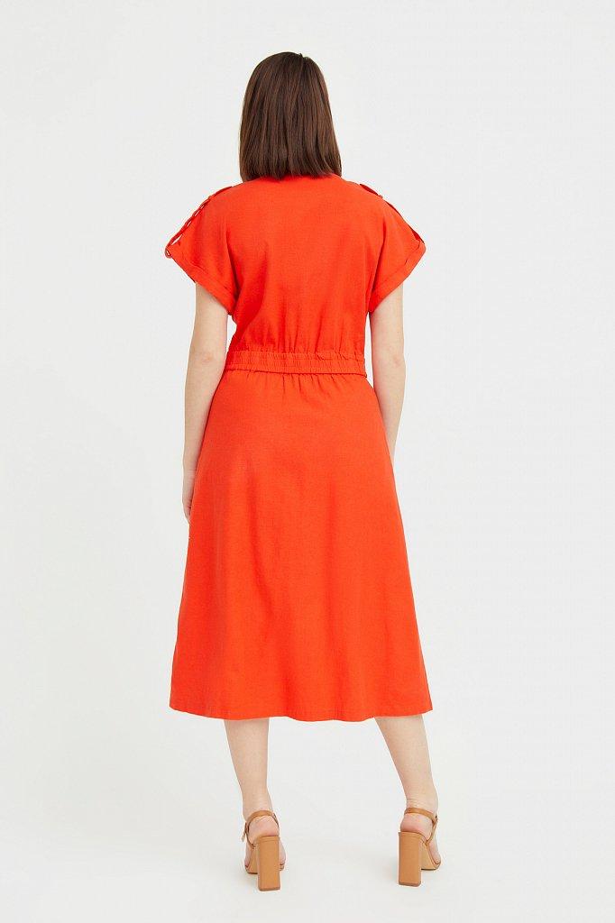 Платье-рубашка с короткими рукавами, Модель S21-12028, Фото №4