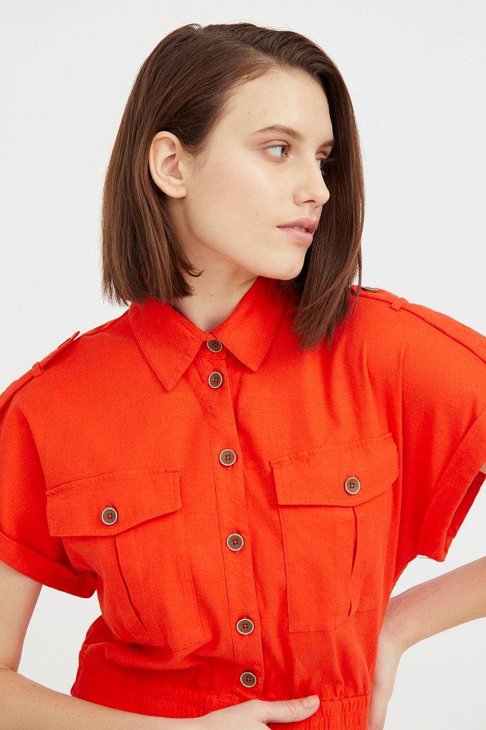 Платье-рубашка с короткими рукавами, Модель S21-12028, Фото №6