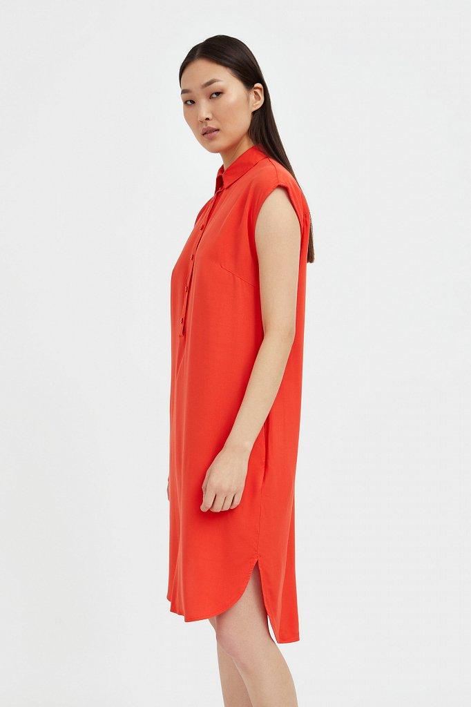 Платье прямого кроя с отложным воротником, Модель S21-12090, Фото №3
