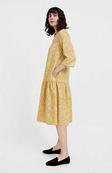 Платье-миди с растительным узором S21-14077