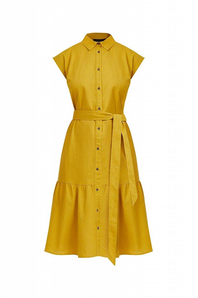 Платье-рубашка из натурального хлопка и льна, Модель S21-14016, Фото №7