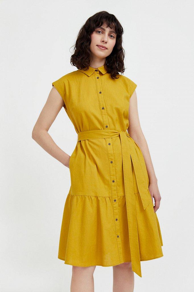 Платье-рубашка из натурального хлопка и льна, Модель S21-14016, Фото №2