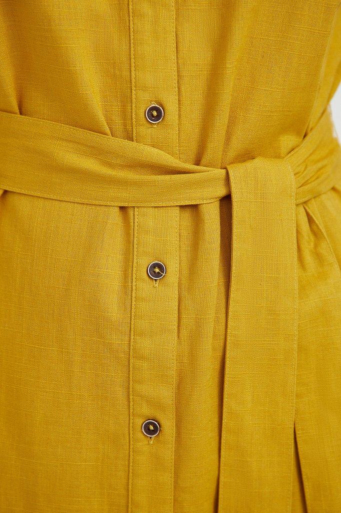 Платье-рубашка из натурального хлопка и льна, Модель S21-14016, Фото №5