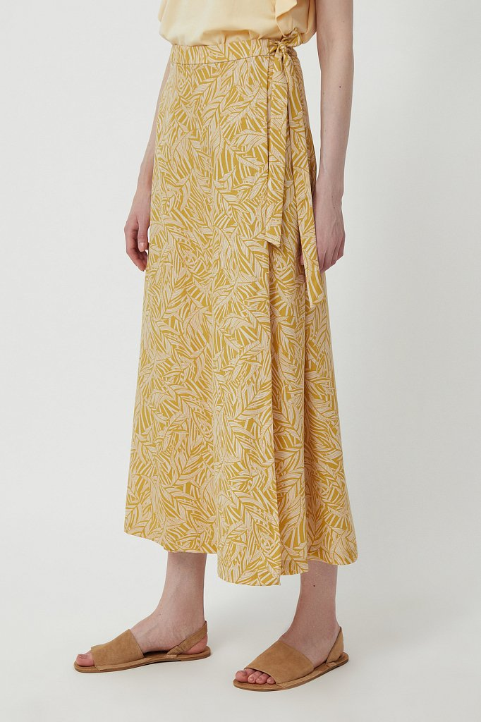 Принтованная юбка с запахом, Модель S21-14083, Фото №3