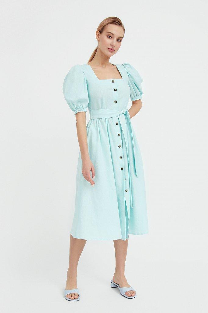 Платье-миди изо льна и хлопка, Модель S21-11012, Фото №2