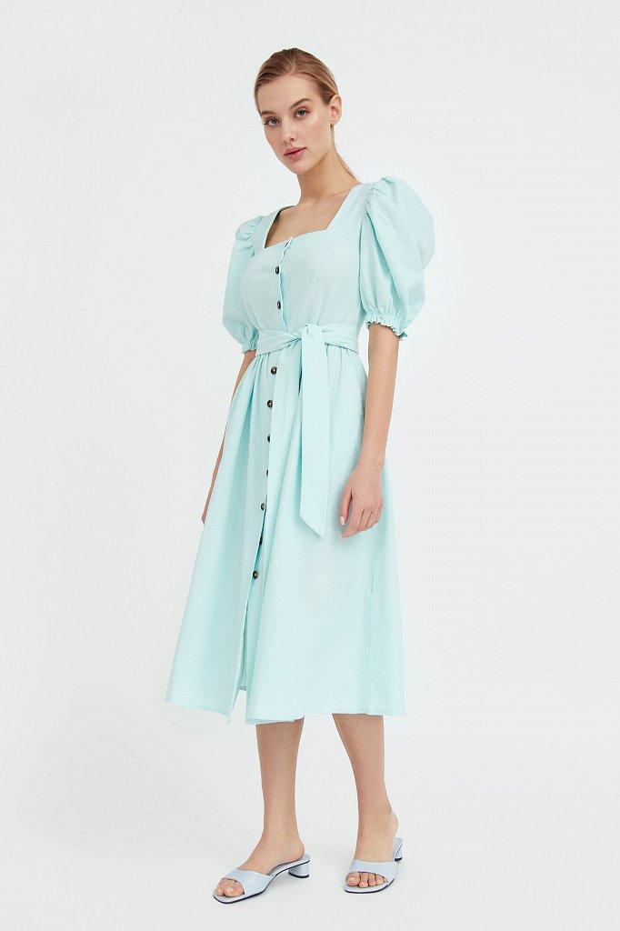 Платье-миди изо льна и хлопка, Модель S21-11012, Фото №3