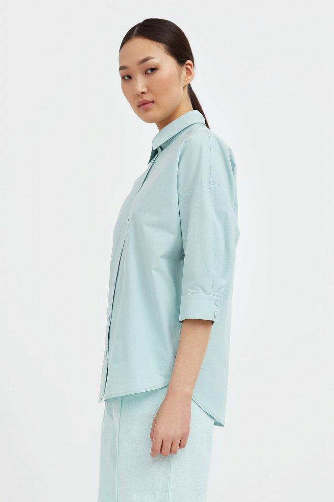 Свободная хлопковая рубашка, Модель S21-11029, Фото №3