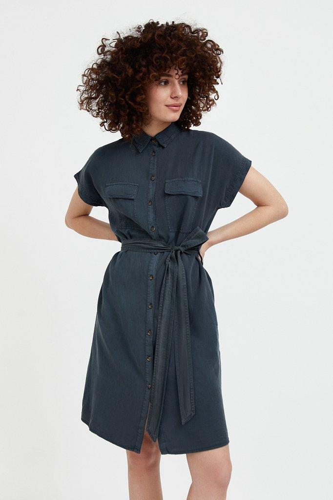 Платье-рубашка из мягкой вискозы, Модель S21-15007, Фото №2