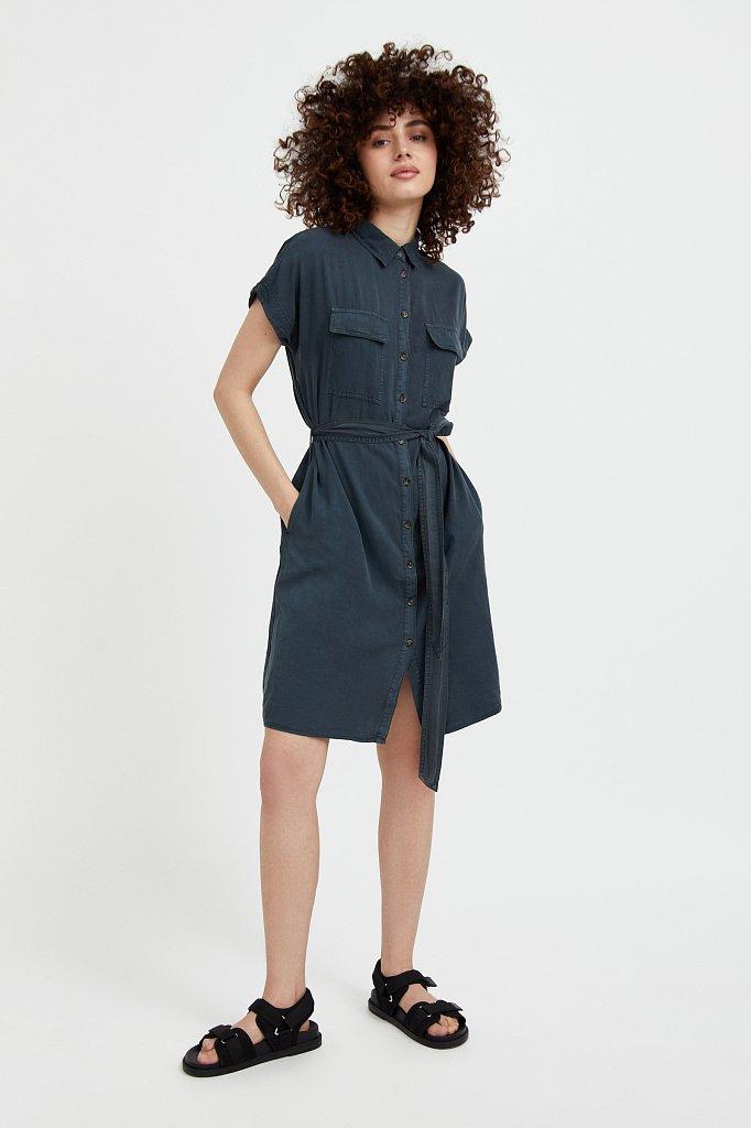 Платье-рубашка из мягкой вискозы, Модель S21-15007, Фото №3