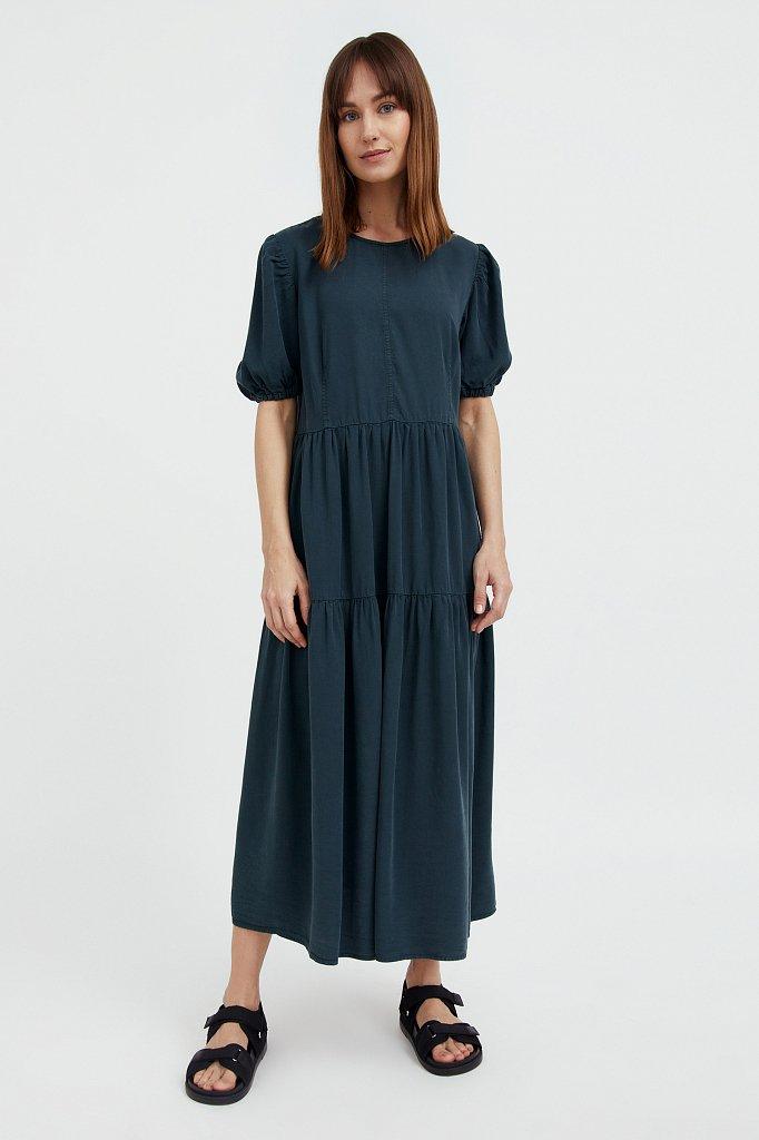 Длинное платье с рукавами-фонариками, Модель S21-15008, Фото №1