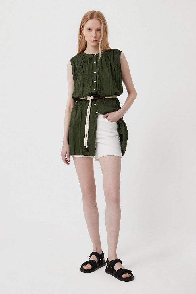 Удлиненная хлопковая блузка, Модель S21-110100, Фото №1