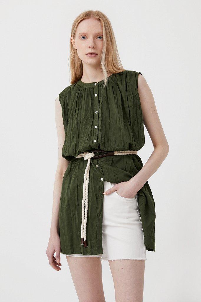 Удлиненная хлопковая блузка, Модель S21-110100, Фото №2