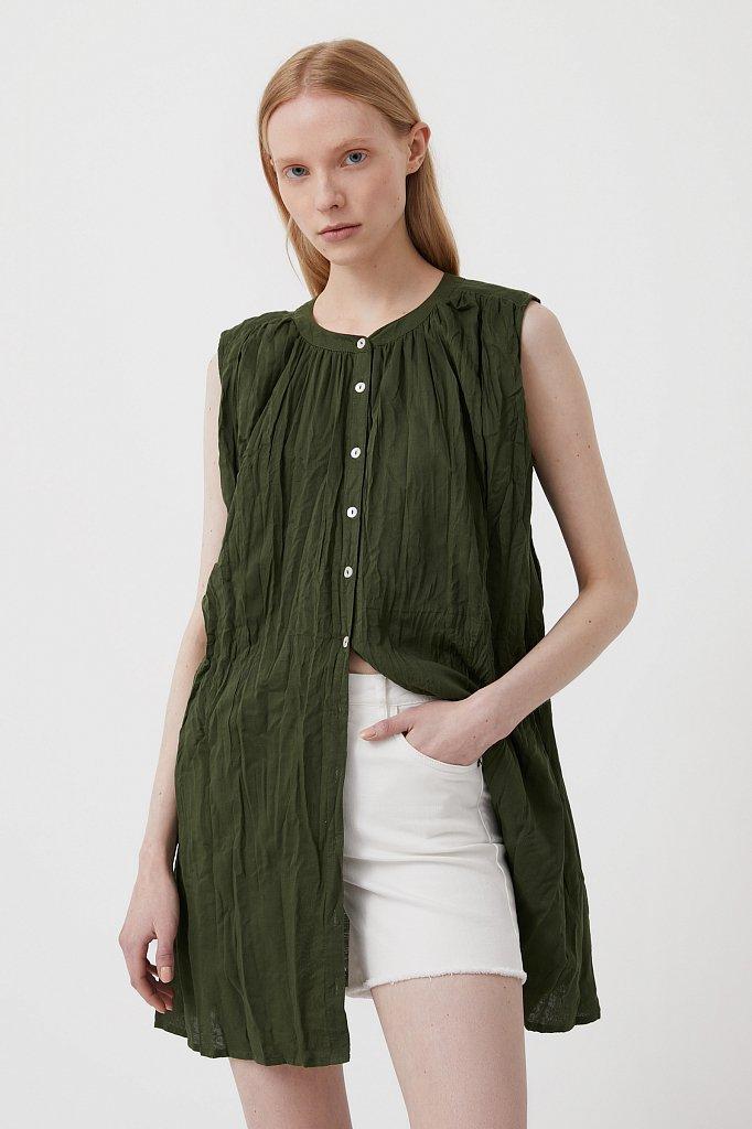 Удлиненная хлопковая блузка, Модель S21-110100, Фото №3
