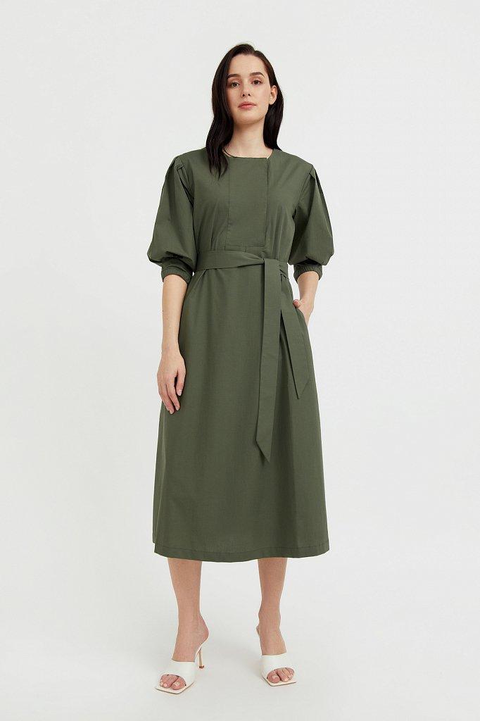 Хлопоковое платье миди с поясом, Модель S21-11052, Фото №1