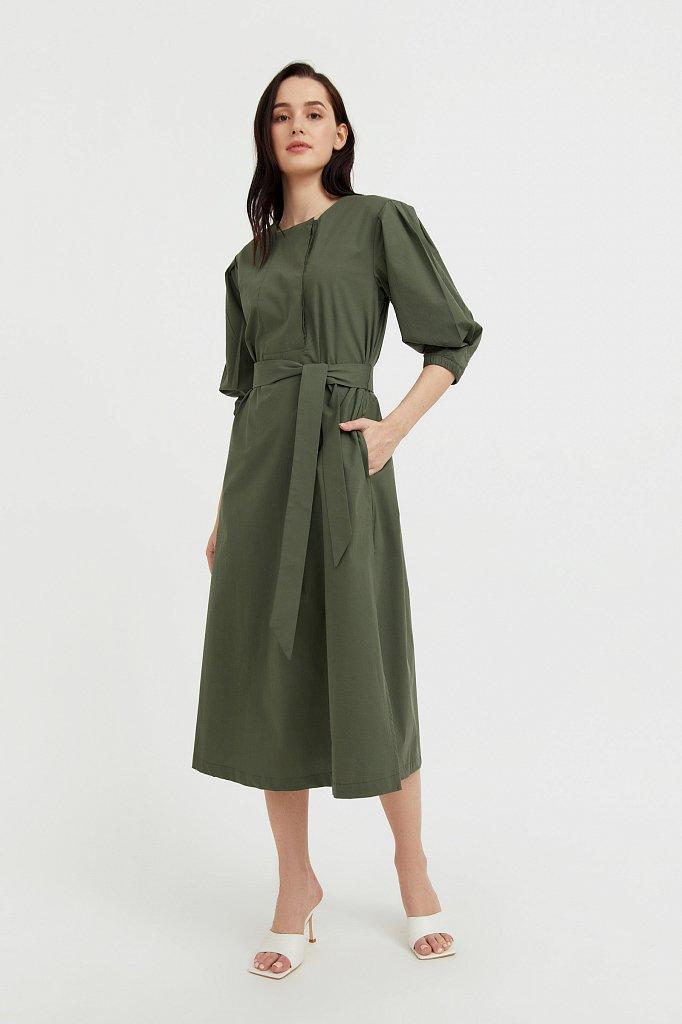 Хлопоковое платье миди с поясом, Модель S21-11052, Фото №3