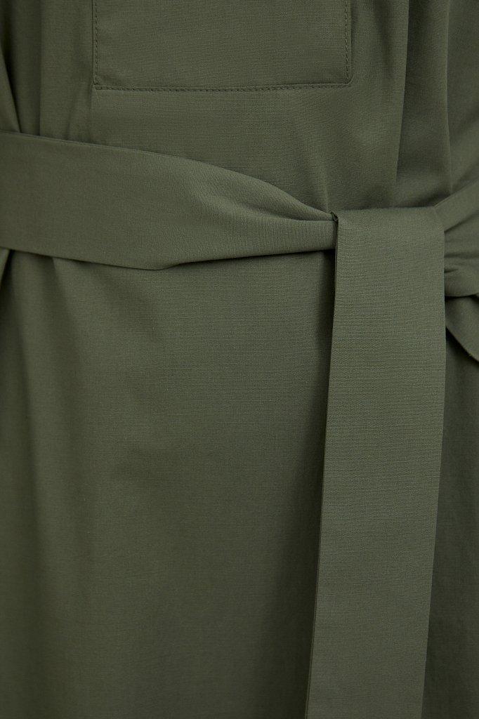 Хлопоковое платье миди с поясом, Модель S21-11052, Фото №5