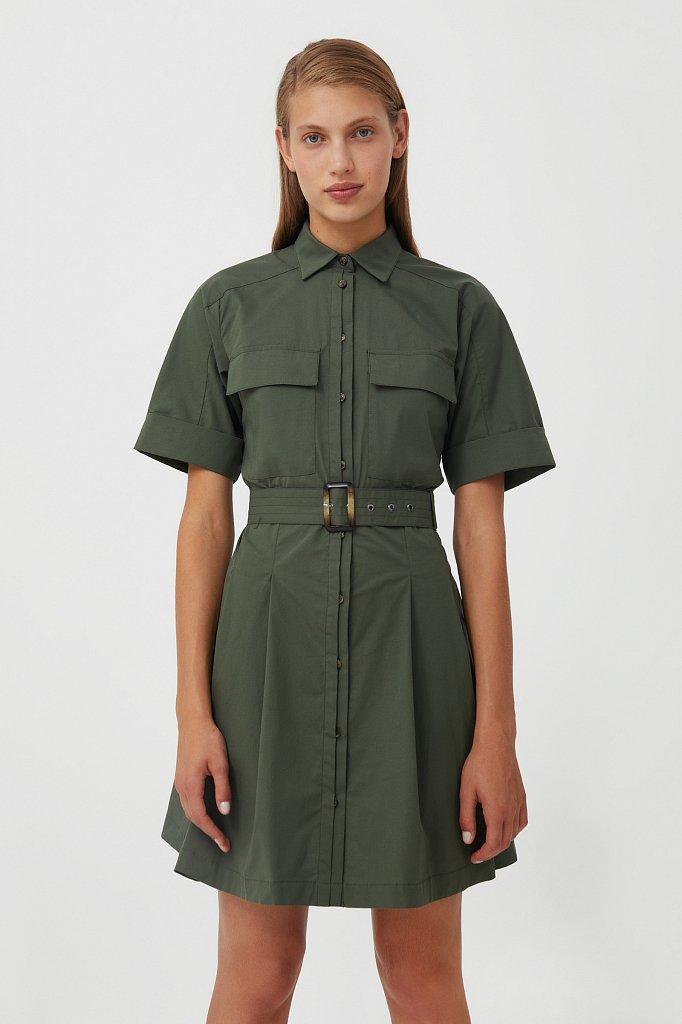 Короткое платье-рубашка из хлопка, Модель S21-11053, Фото №1