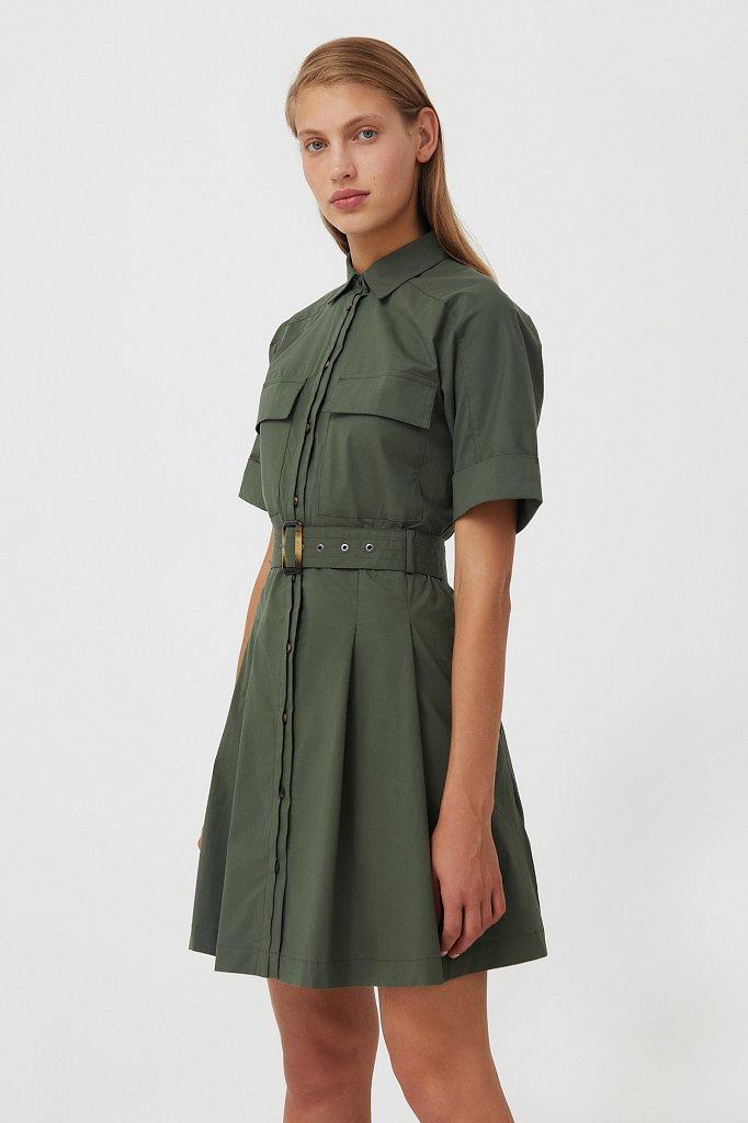 Короткое платье-рубашка из хлопка, Модель S21-11053, Фото №3