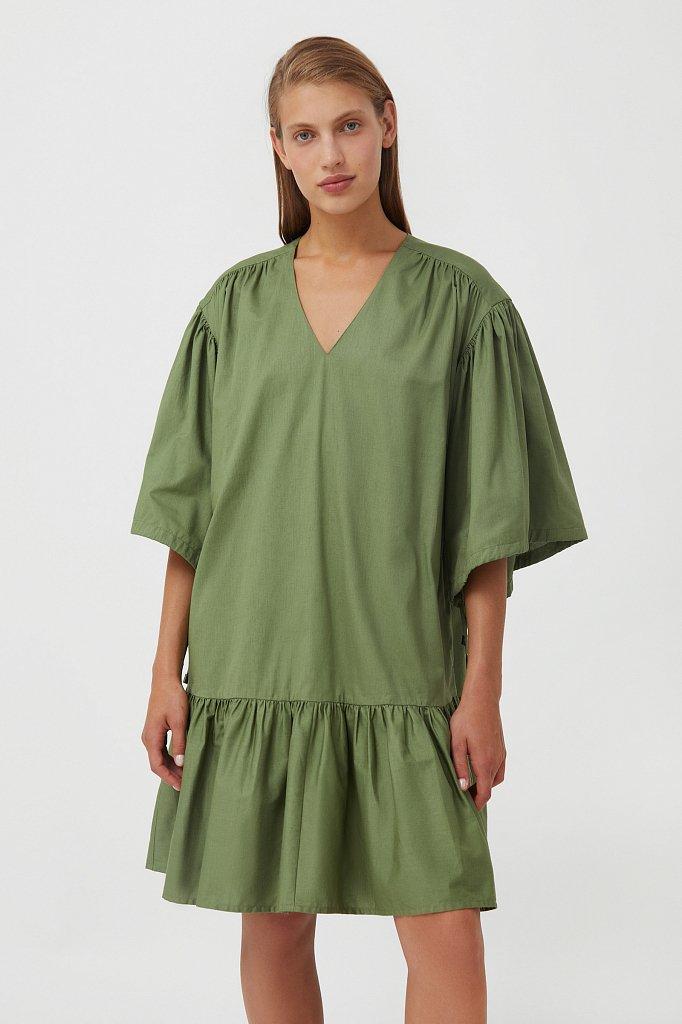 Хлопковое платье с объемными рукавами, Модель S21-11080, Фото №1
