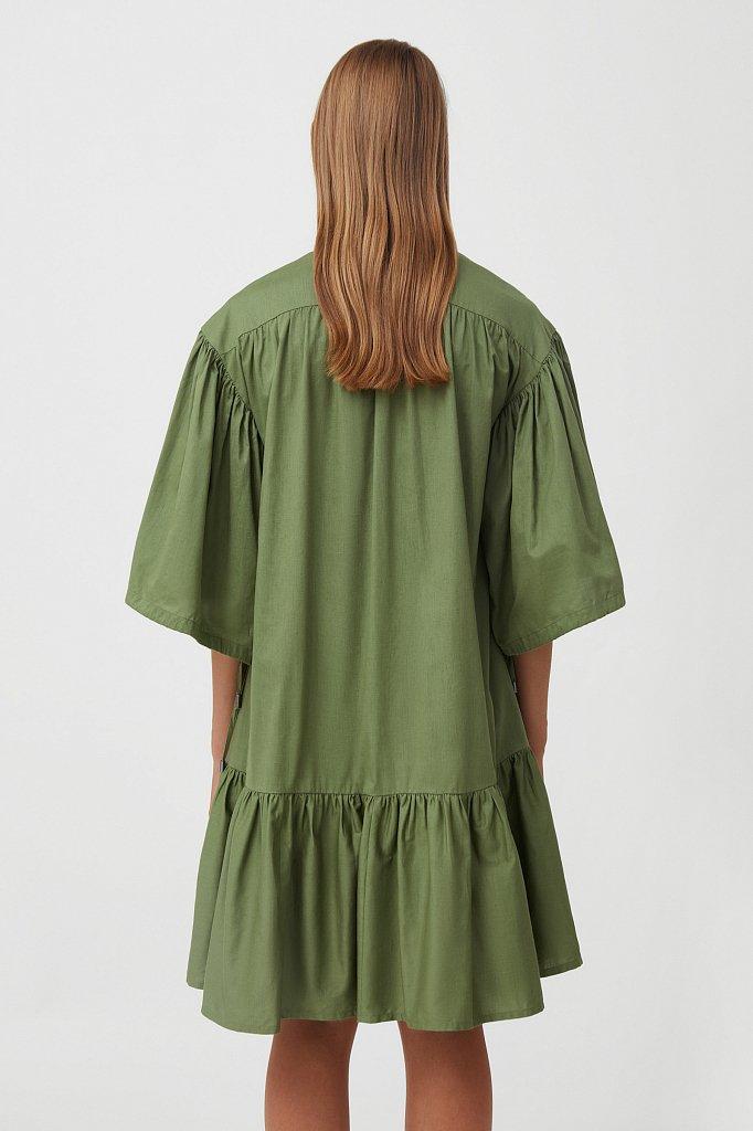 Хлопковое платье с объемными рукавами, Модель S21-11080, Фото №4