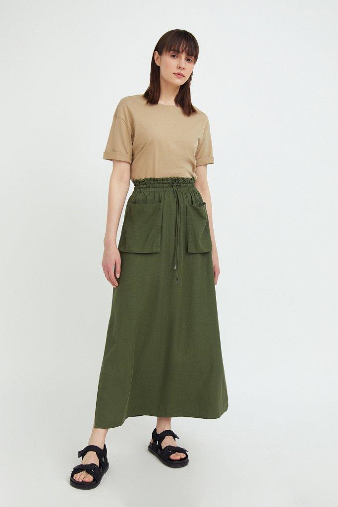 Льняная юбка макси, Модель S21-12074, Фото №1