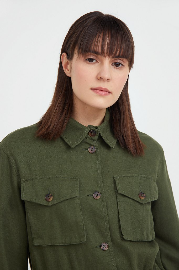 Льяной жакет с накладными карманами, Модель S21-12075, Фото №7