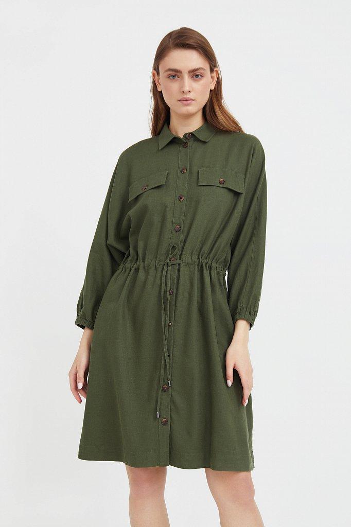 Льняное платье-рубашка, Модель S21-12077, Фото №2