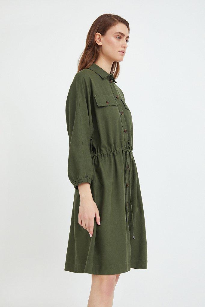 Льняное платье-рубашка, Модель S21-12077, Фото №3