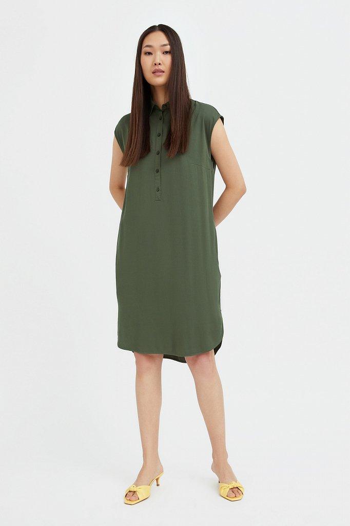 Платье прямого кроя с отложным воротником, Модель S21-12090, Фото №2