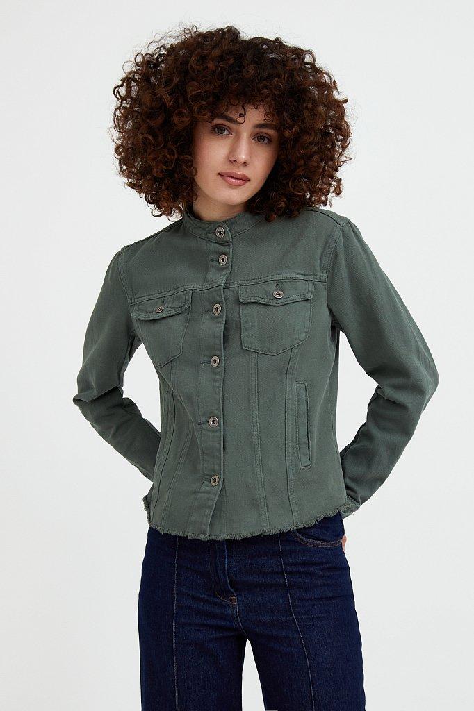 Джинсовая куртка с воротником-стойкой, Модель S21-15014, Фото №2