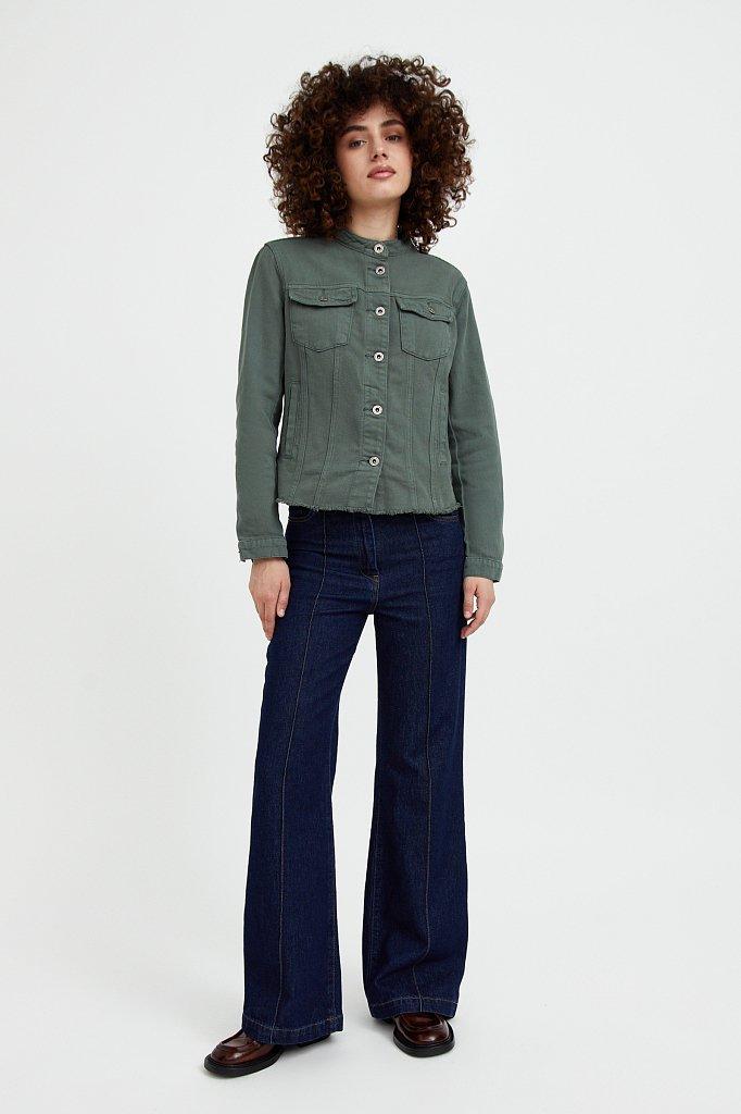 Джинсовая куртка с воротником-стойкой, Модель S21-15014, Фото №3