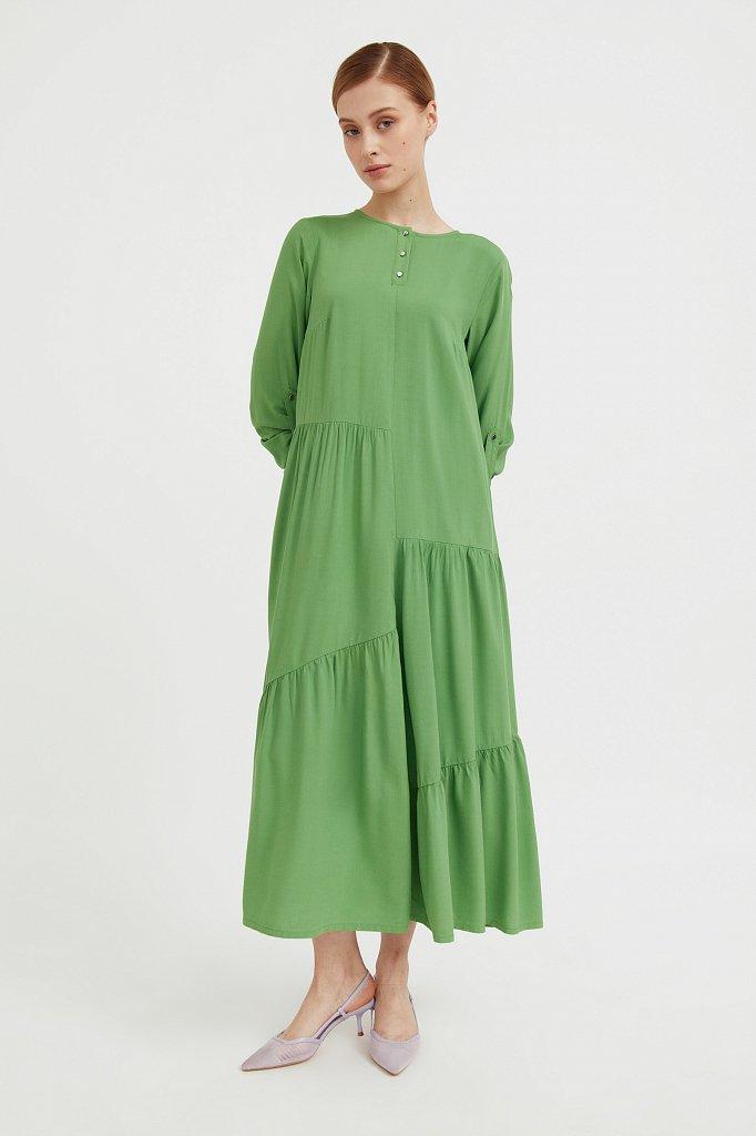 Платье с асимметричными воланами, Модель S21-11078, Фото №1