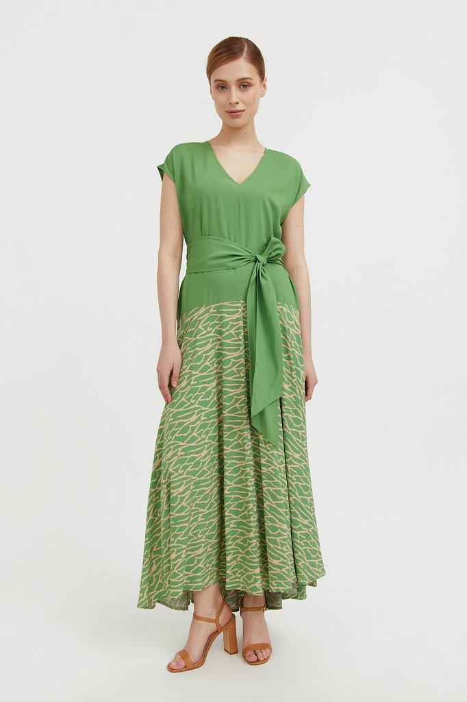 Комбинированное платье из вискозы, Модель S21-14003, Фото №1