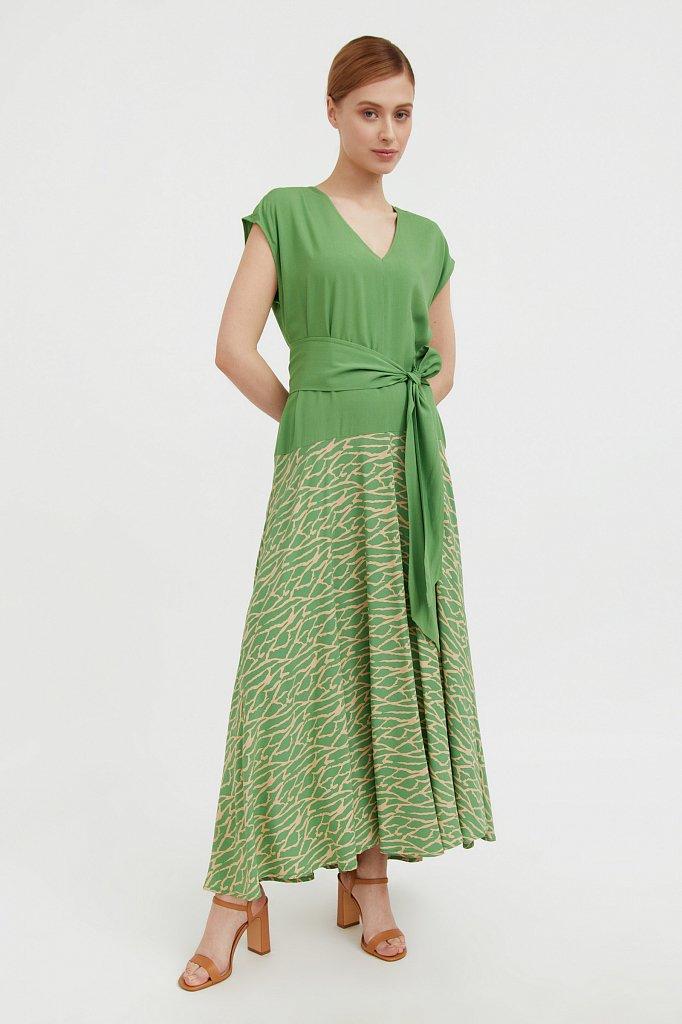 Комбинированное платье из вискозы, Модель S21-14003, Фото №2