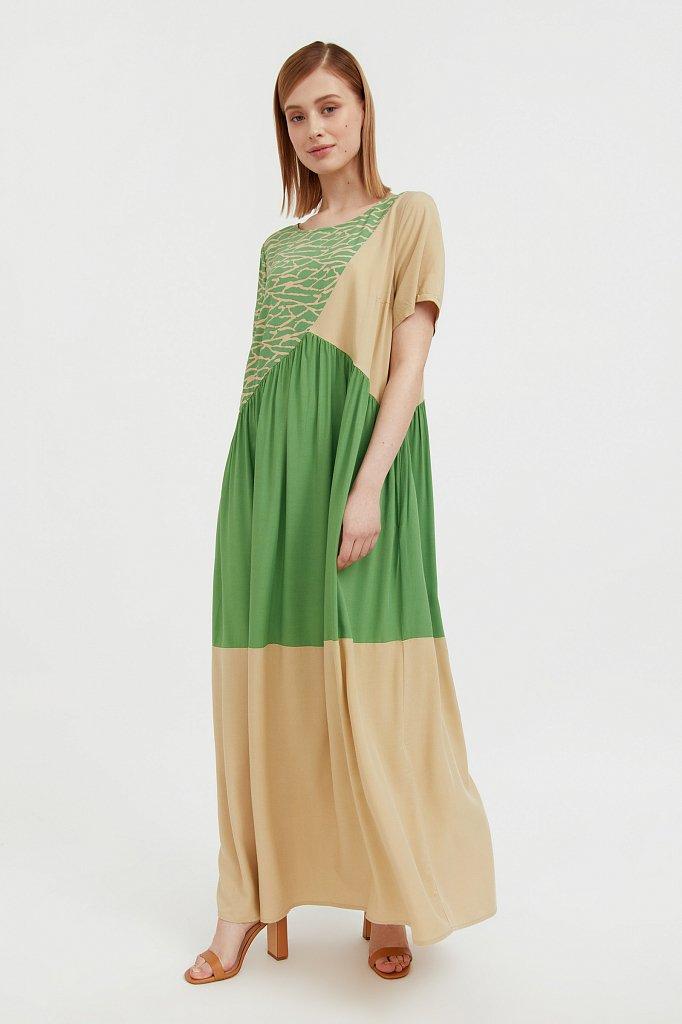 Комбинированное платье-макси, Модель S21-14089, Фото №1