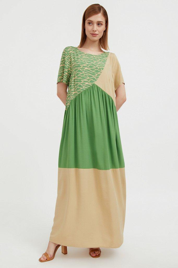 Комбинированное платье-макси, Модель S21-14089, Фото №2