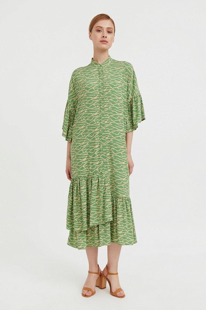 Платье-миди с асимметричными воланами, Модель S21-14090, Фото №1
