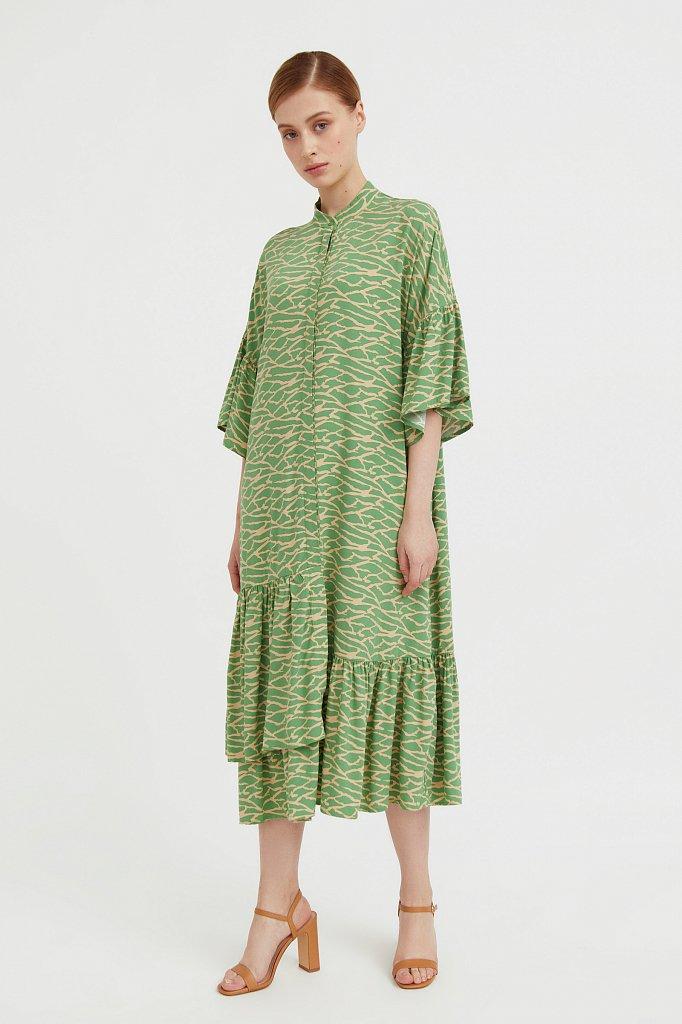 Платье-миди с асимметричными воланами, Модель S21-14090, Фото №2