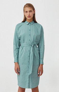 Хлопковое платье-рубашка с принтом S21-12043