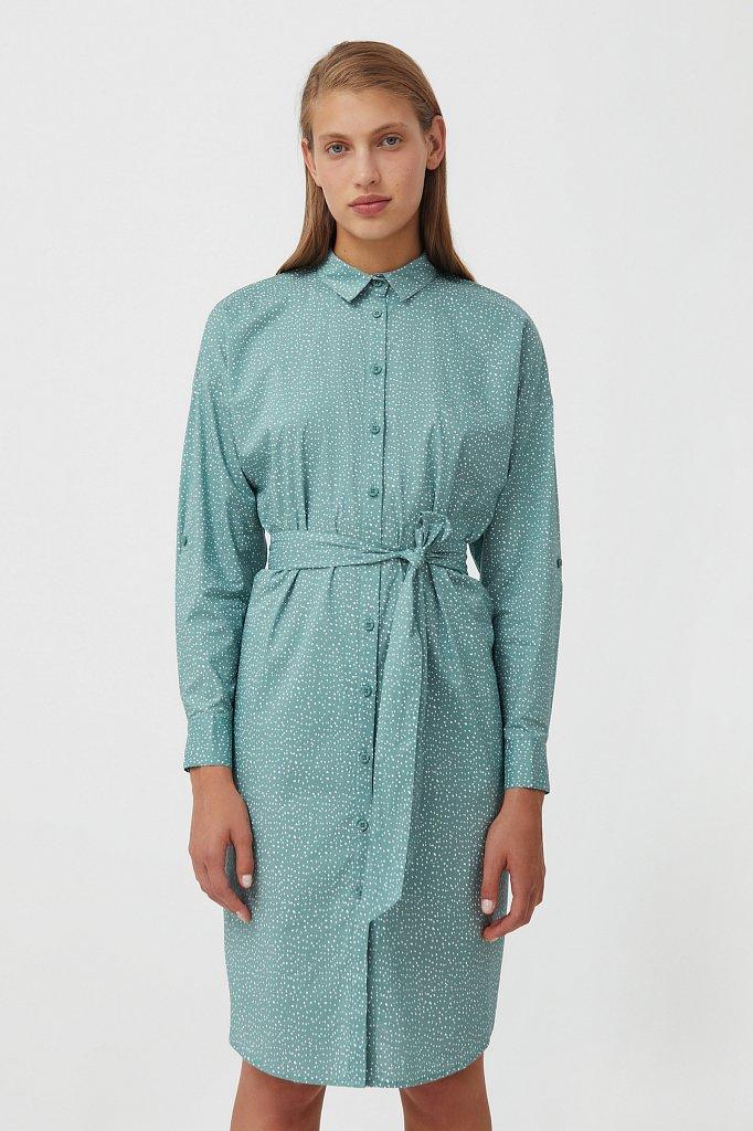 Хлопковое платье-рубашка с принтом, Модель S21-12043, Фото №1