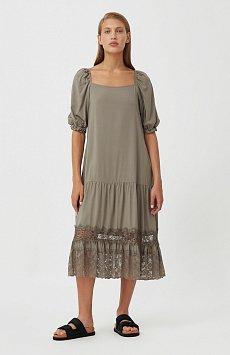 Платье свободного кроя с кружевом S21-110108