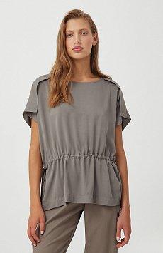 Однотонная блузка на кулиске S21-12024