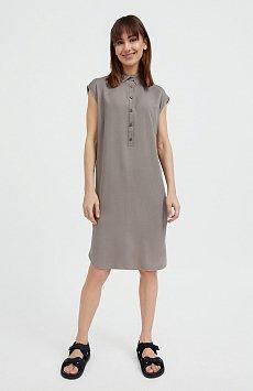 Платье прямого кроя с отложным воротником S21-12090