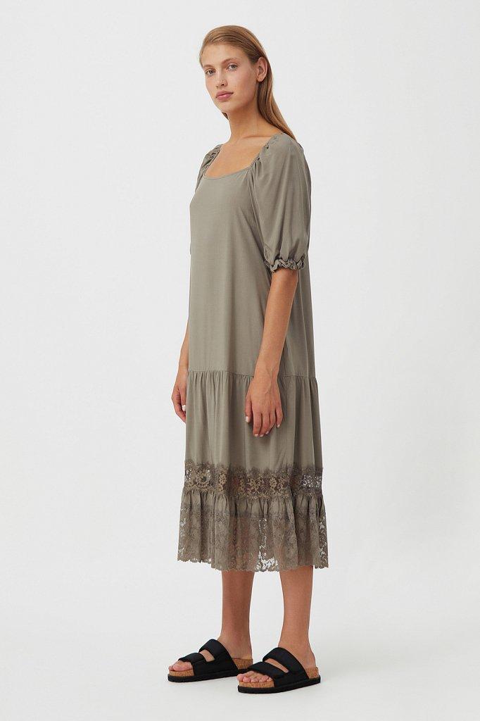 Платье свободного кроя с кружевом, Модель S21-110108, Фото №3