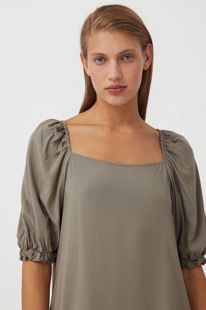 Платье свободного кроя с кружевом, Модель S21-110108, Фото №6